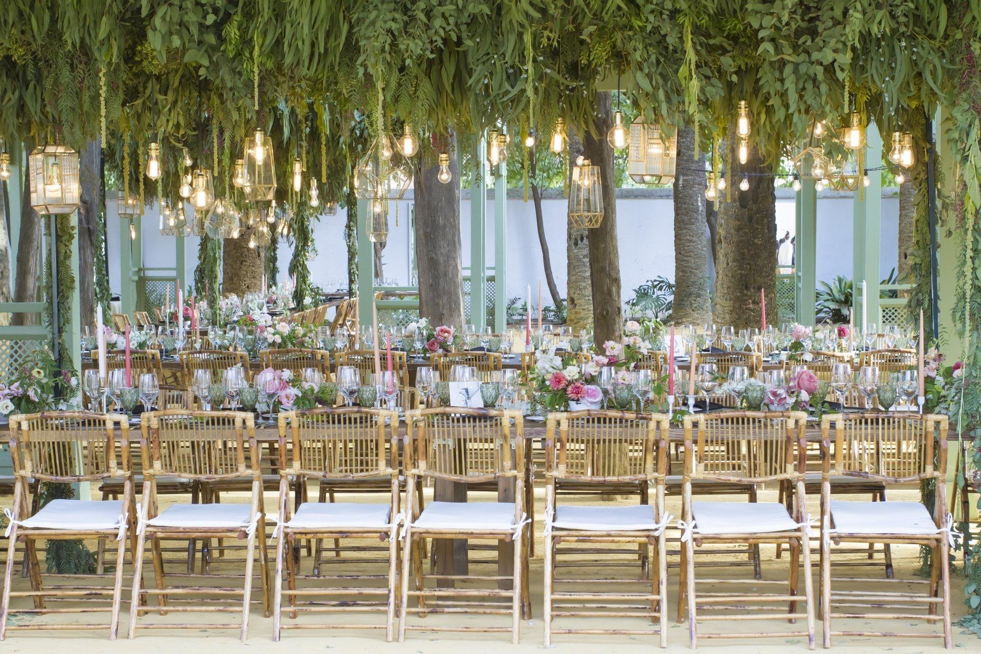 techo de bombillas con mobiliario bambu